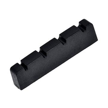 Kmise Bass Nut for 4 String Bass Electric Guitar Parts Replacement Slotted String Nut Black 42.5mm 1 Pcs