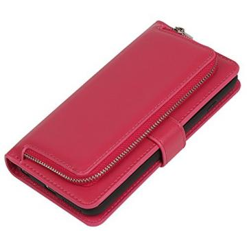 "Wallet Case for iPhone 6S/6 Plus, Bonice Detachable Premium Leather Magnetic Folio Zipper Protective Phone Wallet Case with Multiple Card Slots Extra Wallet Storage for iPhone 6 Plus 5.5"" - Rose Red"