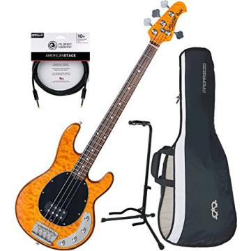 Sterling RAY34QM Antique Maple 4 String Bass w/ Gig Bag, Stand, and Cable