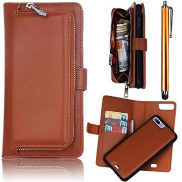 iPhone 7 Plus Flip Cases, Bonice Premium Leather Magnetic Detachable Folio Zipper Protective Phone Wallet Case with Multiple Card Slots Extra Wallet Storage for iPhone 7 Plus 5.5 inches - Brown