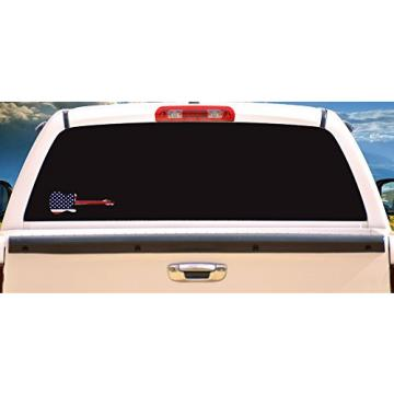 GUITAR American Flag Music Vinyl Decal - Great for Truck Window Car Bumper Sticker - Perfect Music Teacher , Fan or Band Member Gift, Made in the USA