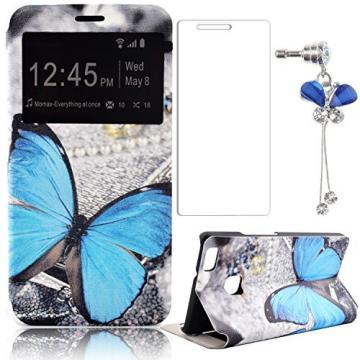 Huawei Ascend P9 Lite Flip Handy Case,Sunroyal PU Leather Folio Smart Touch Window Matte Hard PC Back+Blue Butterfly Crystal Bling Dustproof Pendant+Transparent Screen Protector