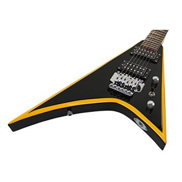 Stedman Flying V Series Electric Guitar With Many Accessories - Black with Yellow Stripe
