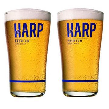 Harp Premium Irish Lager Midland Style Beer Glass | Set of 2