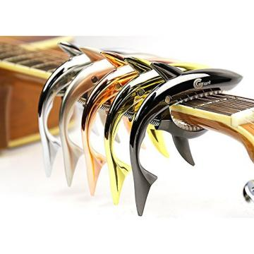 ZEALUX Shark Guitar Capo for Guitars, Ukulele, Banjo, Mandolin, Bass - Made of Ultra Lightweight Aluminum Metal for 4 & 6 & 12 String Instruments - Premium Accessories (Gold)