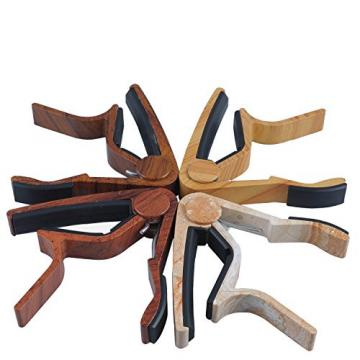 Sound harbor Faux Wooden Style Guitar Capo Made of Ultra Lightweight Aluminum Metal for 6 String Instruments, Acoustic, Electric & Classical Guitar, Ukulele, Bass, Banjo