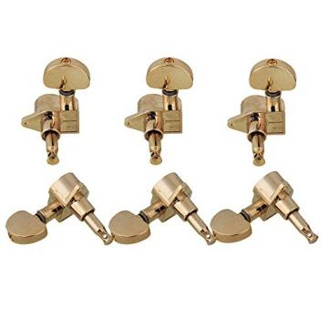 Yibuy 3R3L Guitar String Tuning Pegs with Big Oval Shape Tips Zinc Alloy Golden Set of 6