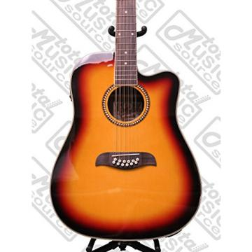 Oscar Schmidt 12 String A/E Guitar & Kaces HD Padded Gig Bag, Sunburst,OD312CETS