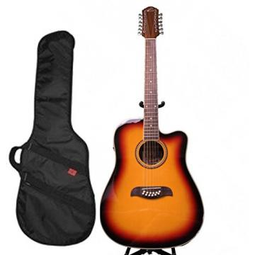 Oscar Schmidt 12 String A/E Guitar & Kaces HD Padded Gig Bag, Sunburst,OD312CETS