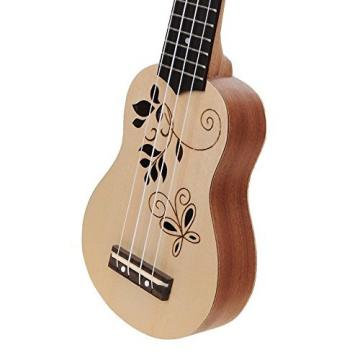 Haibei 17 Inch Soprano Ukulele Uke Rosewood Fingerboard,face Board & Side Board Conscuted of Sapele 12 Frets Ukulele Laser Cutting Beautiful Flower Vine Pattern Natural Wood Color Finished+free Ukulele Bag