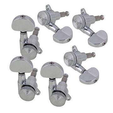 Yibuy Silver Zinc Alloy Oval Shape 3L3R String Guitar Locking Tuning Pegs Keys for ALL Guitar Set of 6