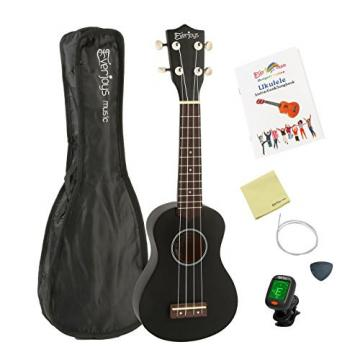 "Soprano Ukulele Starter Kit - 21"" EVERJOYS Music Collection #1 Sell w/ FREE Gig Bag Songbook Tuner Pick Spare String and Microfiber Polishing Cloth Quality Blackwood for Fingerboard and Bridge (Black)"