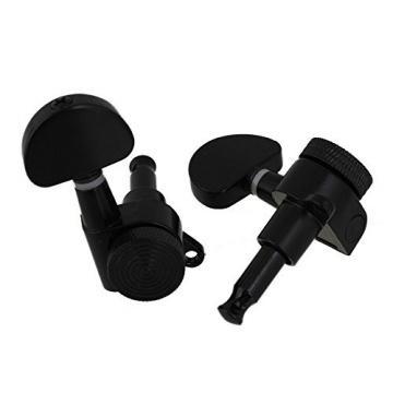 Yibuy Guitar Tuners Tuning Pegs Keys Machine Heads Trim Locking 3R3L with Big Oval Shape Tips Black Set of 6