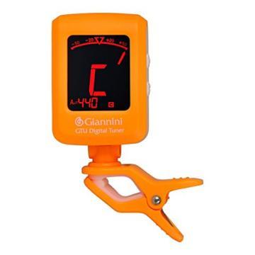 Giannini GTU-OR/WH Digital Chromatic Clip-On Tuner for Stringed Instruments, Orange/White