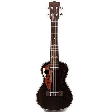 21 Inch Black Brown Soprano Ukulele 4 Strings Instrument All-Closed Laser Cutting + Decal Rosewood Hawaii Ukelele 1-