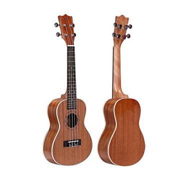 HOT SEAL 23in Guitar Shaped Handmade Carving Dapper Beginners Concerts Ukuleles Uke (23in, Mahogany No.1)