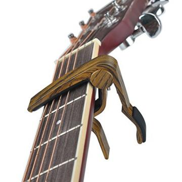 BestSounds Capo Guitar Capo for Acoustic and Electric Guitars and Ukelele, Zinc Alloy- Quick Change Guitar Capo with Picks Gift (Sapele)