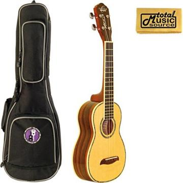 Oscar Schmidt OU3 Concert Ukulele, Select Spruce Top, Satin Finish, W/Padded Gigbag & PC
