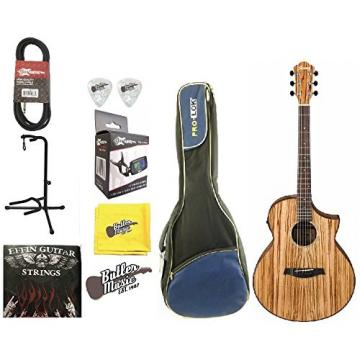 Ibanez Exotic Wood AEW40ZWNT A/E Zebrawood Guitar w/Padded Gig Bag & More