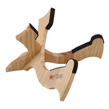 Yibuy 27x19cm Wood Wooden Guitar Ukulele Mandolin Banjo Violin Cross Stand Holder Foldable Ultraportable String Instrument Accessories