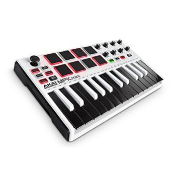 AKAI Professional MPK Mini MKII LE 25-Key Portable USB MIDI Keyboard with 16 Backlit Performance-Ready Pads, Eight-Assignable Q-Link Knobs and a Four Way Thumbstick - White