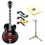 Ibanez AF75TRS Hollow Body Electric Guitar in Mahogany with Polishing Cloth, Stand and Pegwinders
