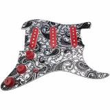 HDCustom Guitar Supply Loaded Pickguard for Stratocaster with DiMarzio True Velvet Pickups, Mojo Blend Pot, Black Paisley/Red