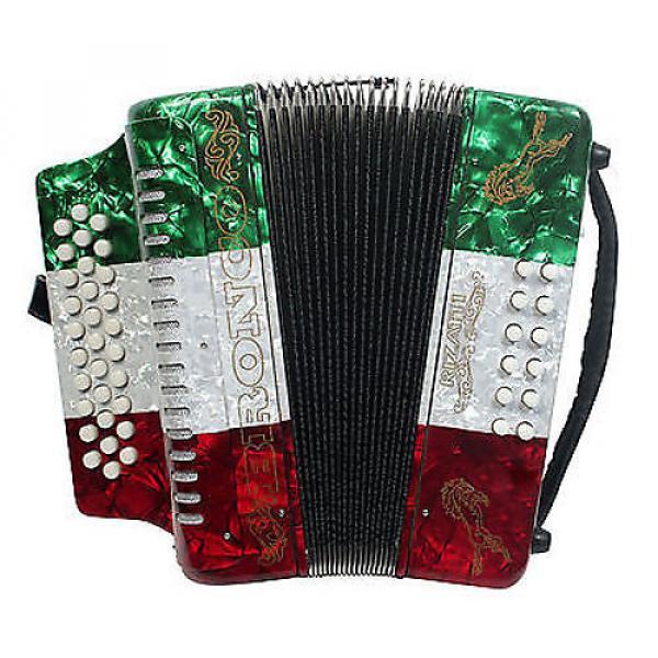 Custom Rizatti Bronco RB31GM Diatonic Accordion-Mexican Flag-Key G/C/F w/ Padded Bag #1 image
