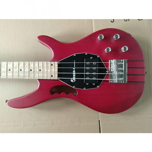 Custom SPEED-1 NECK THUR 4 STRING BASS ACTIVE OR PASSIVE (RED) NEW!! #1 image