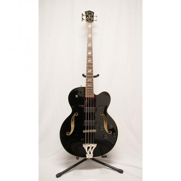 Custom Washburn AB-90 Acoustic Electric Bass Semi-Hollow Black Guitar  4 String 35 Scale #1 image