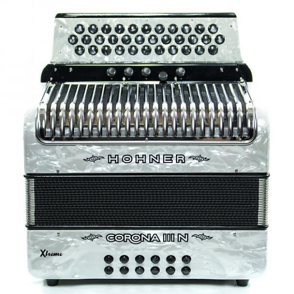 Custom Hohner Corona III N Xtreme FBbEb Accordion White #1 image
