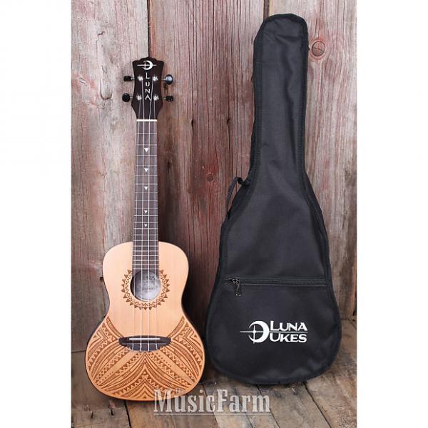 Custom Luna UKE TAPA CDR Concert Acoustic Electric Ukulele Solid Cedar Top with Gig Bag #1 image