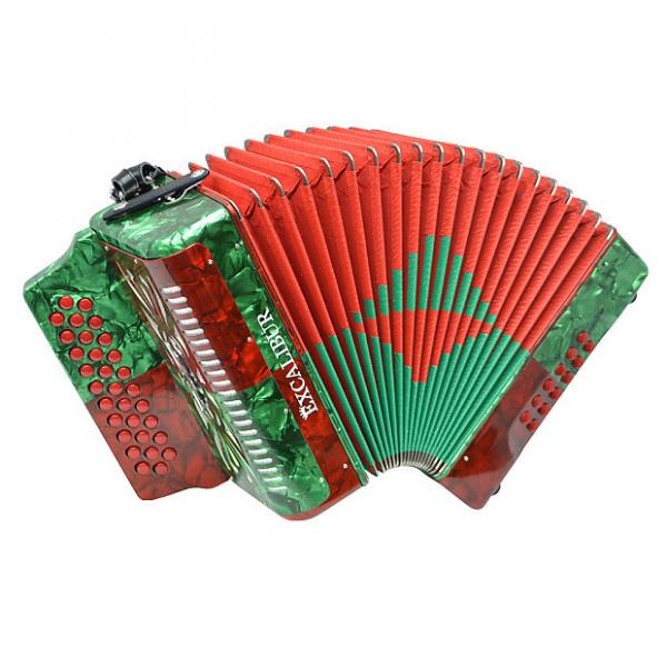 Custom Excalibur Super Classic PSI 3 Row - Button Accordion - Red/Green - Key of FBE #1 image