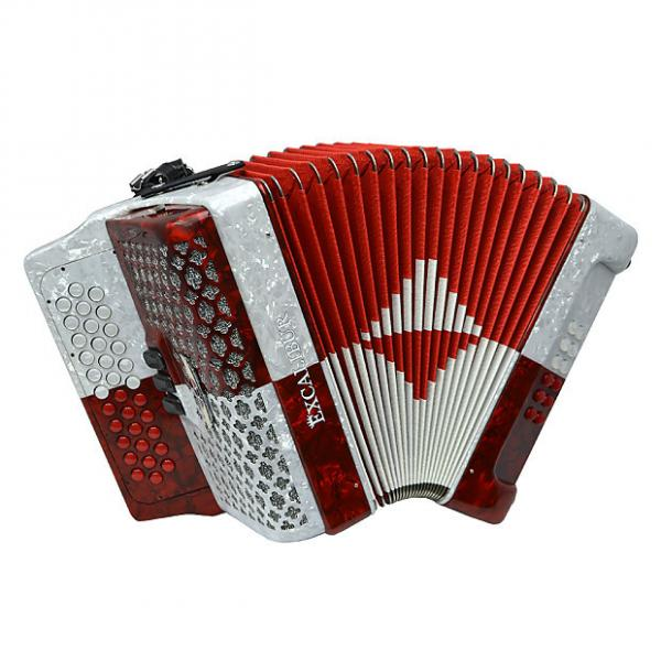 Custom Excalibur Super Classic PSI 3 Row Button Accordion - Red/White -  Key of FBE #1 image