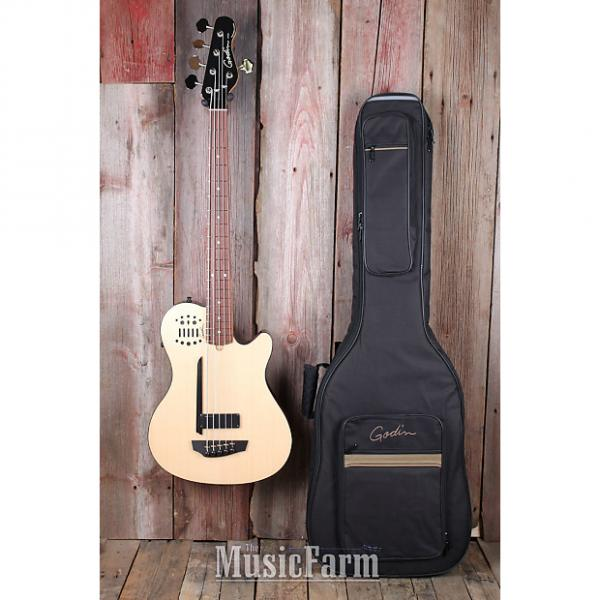 Custom Godin A5 Ultra SA Fretted Semi Acoustic 5 String Bass Guitar Natural w Gig Bag #1 image