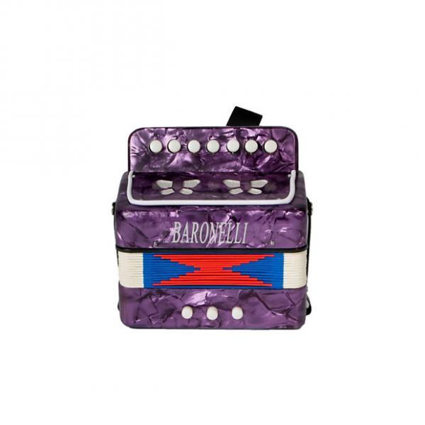 Custom Baronelli Purple Beginner Educational Wooden Kids Mini Toy Accordion with adjust #1 image