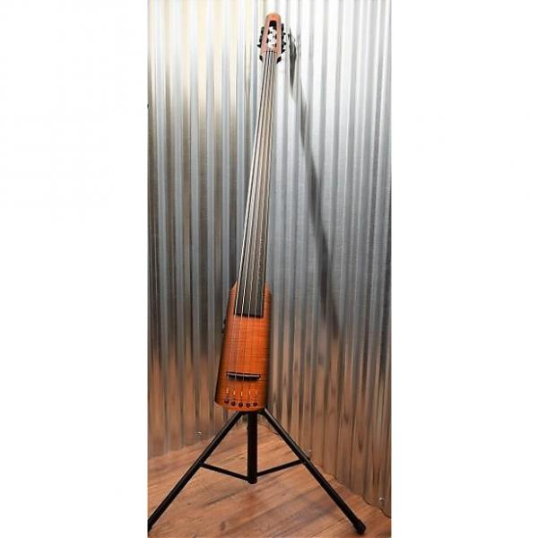 Custom NS Design NXT 5 String Electric Upright Double Bass Flame Amber Burst & Stand #1 image