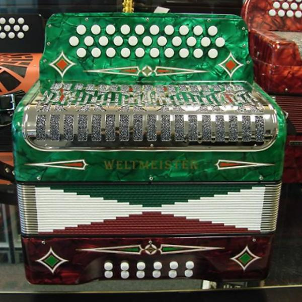 Custom Weltmeister 3 Row Button Accordion Model 509 - Tri-Color #1 image