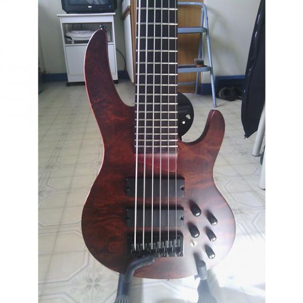 Custom Brice  6 string bass guitar Brice short scale2014 2014 Natural Quilted Bubinga #1 image