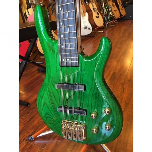 Custom 2017 Wolf 8 String Transparent Green Gloss Solid Ash Neck-Through Bass 1 #1 image