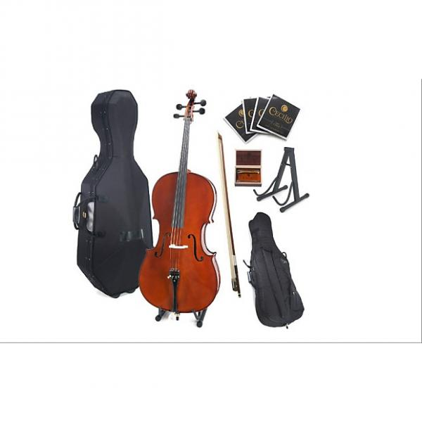 Custom Cecilio CCO-500 Ebony Fitted Flamed Solid Wood Cello with Hard & Soft Case, Stand, Bow, Rosin, Bridg #1 image