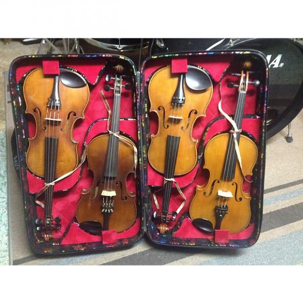 Custom Antique Violin Collection in quadruple violin case! Full Size and ready to play! Turn of the century #1 image