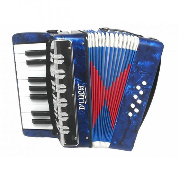 Custom D'Luca G104-BL-PL Kids Piano Accordion 17 Keys 8 Bass Blue Perloid #1 image