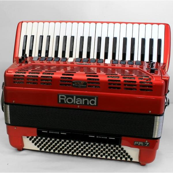 Custom Used Roland FR-7 Red 120-bass accordion #1 image