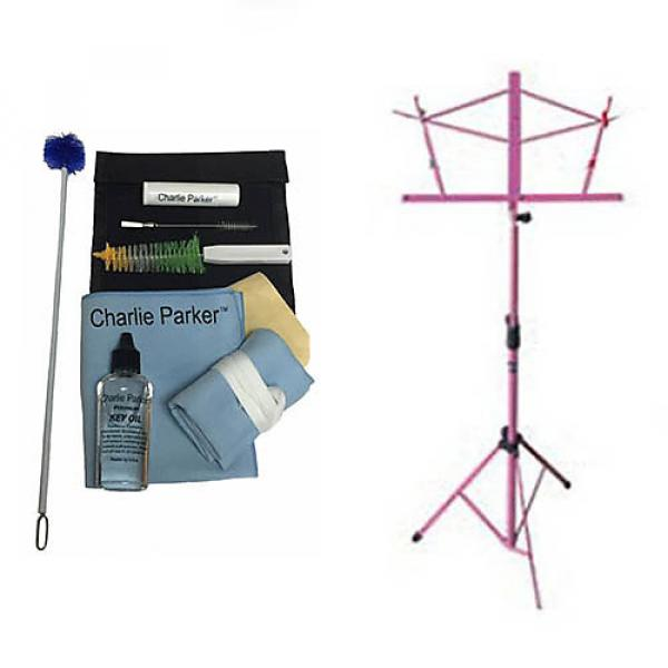 Custom Charlie Parker Paramount Series Soprano Saxophone Care & Cleaning Kit w/Pink Music Stand #1 image