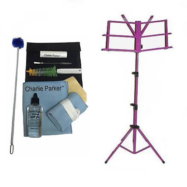 Custom Charlie Parker Paramount Series Baritone Saxophone Care & Cleaning Kit w/Purple Music Stand #1 image