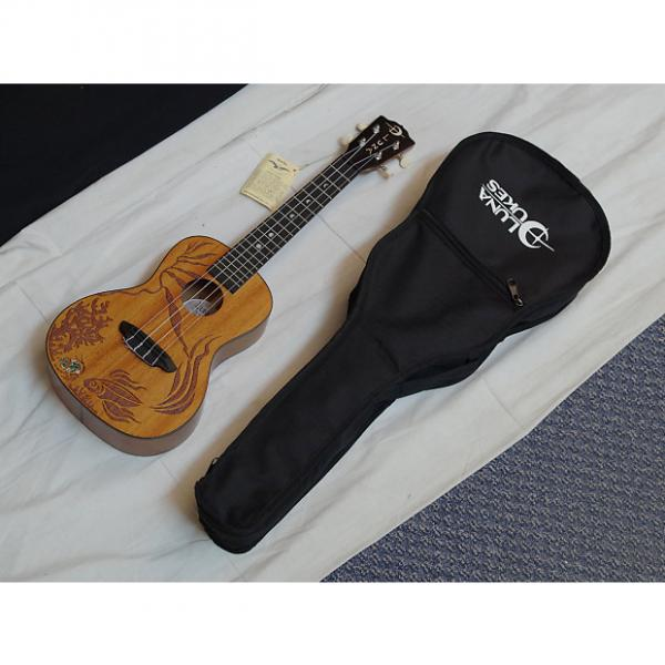 Custom LUNA Coral concert UKULELE new UKE w/ BAG - All Solid Mahogany - Fish Kelp Inlay #1 image