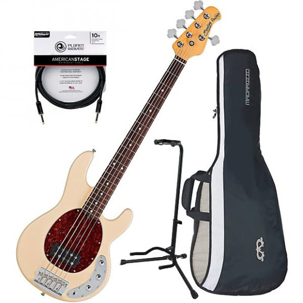 Custom Sterling by Music Man RAY35CA 5-String Electric Bass Guitar Vintage Cream w/ Gig Bag, Stand, and Cab #1 image