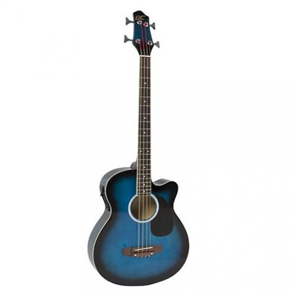 Custom Electric Acoustic Bass Guitar Blue Solid Wood Construction With Equalizer #1 image