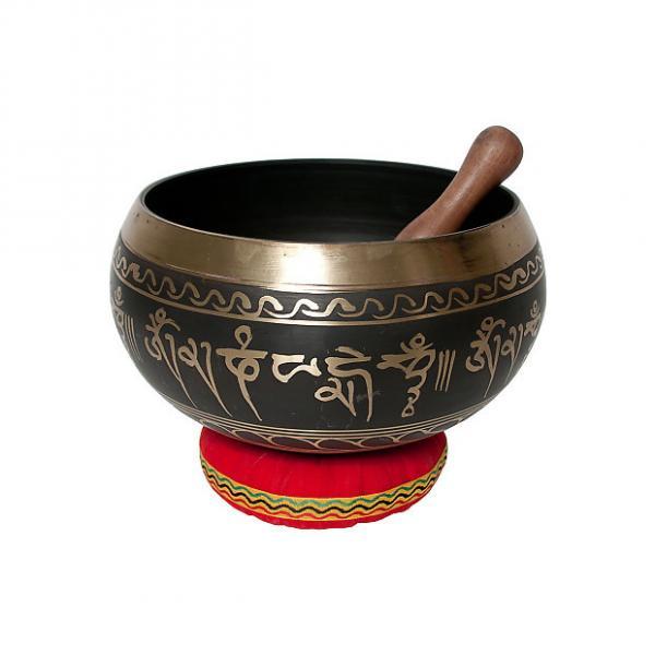 """Custom DOBANI 7.50"""" Singing Bowl Panchaloha Decorated Buddha Mallet and Cushion #1 image"""